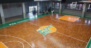 lantai kayu jati lapangan basket
