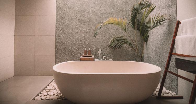 desain lantai batu alam kamar mandi minimalis
