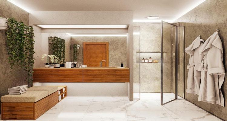granit floor in bathroom